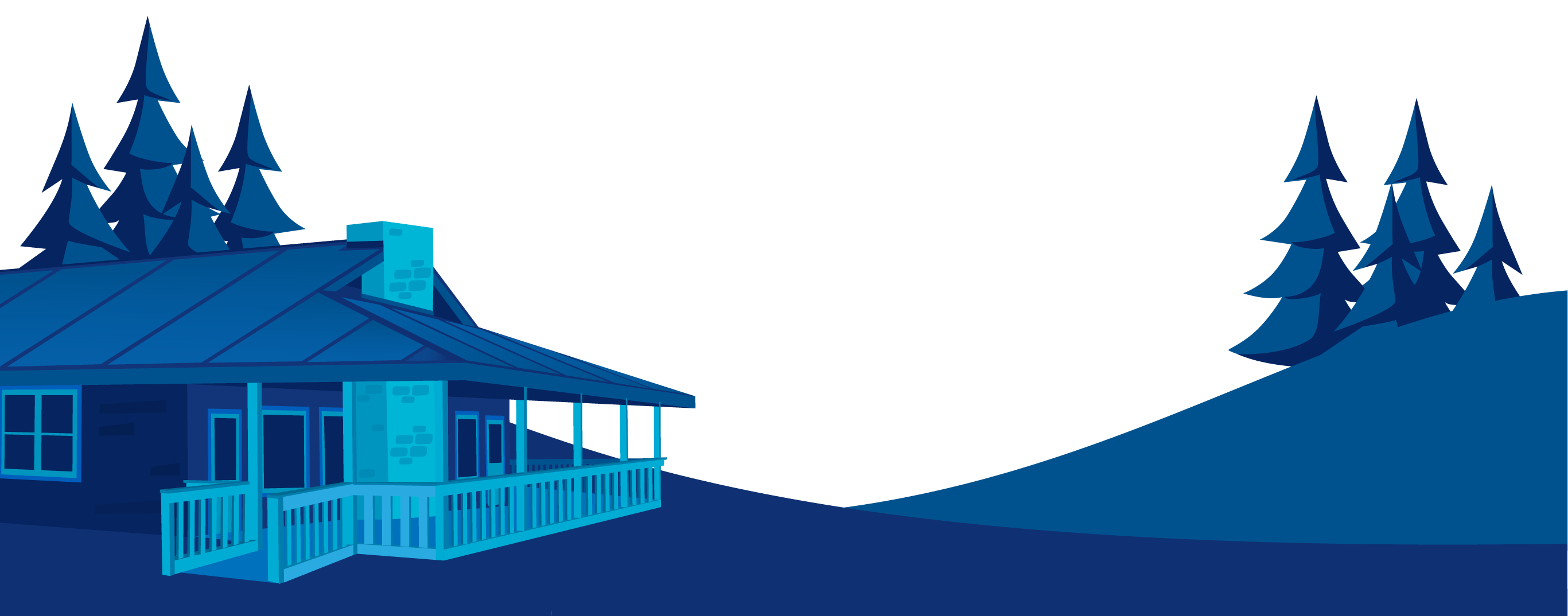 Illustration of the Lodge at Sherlock Springs in Blue Hues