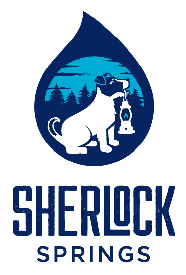 Sherlock Springs - Stacked Logo, Navy and Teal