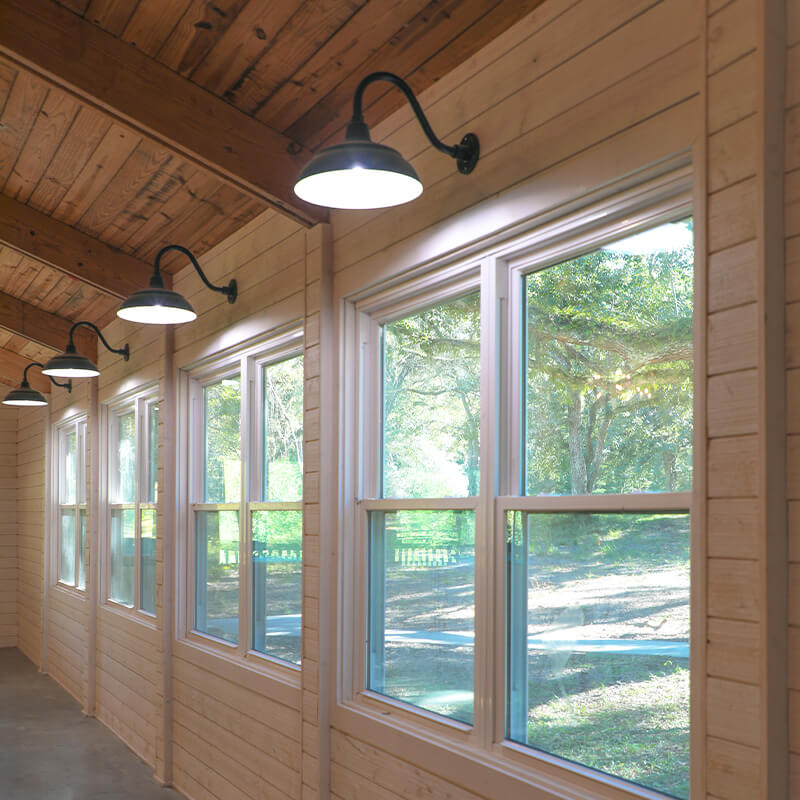 Beautiful Shiplap Walls with Goose Neck Lamps inside the Sherlock Springs Lodge