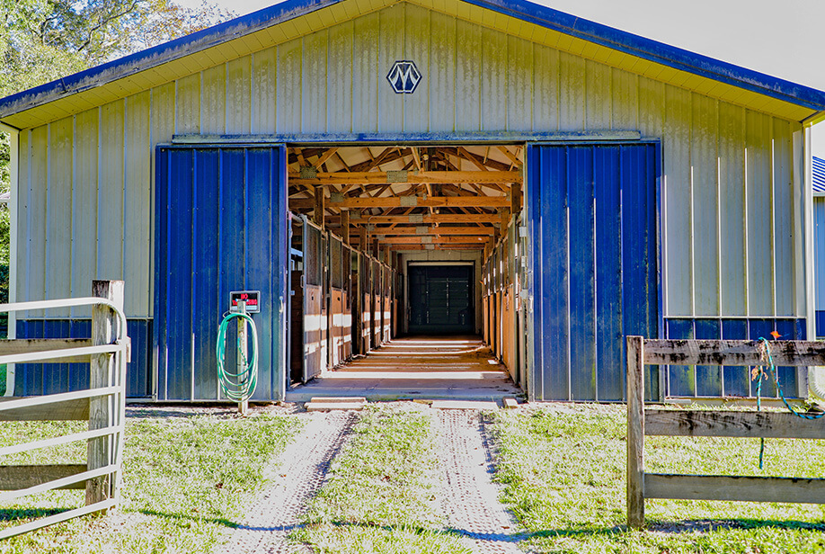View into the Equestrian Center which shows the barn stalls.